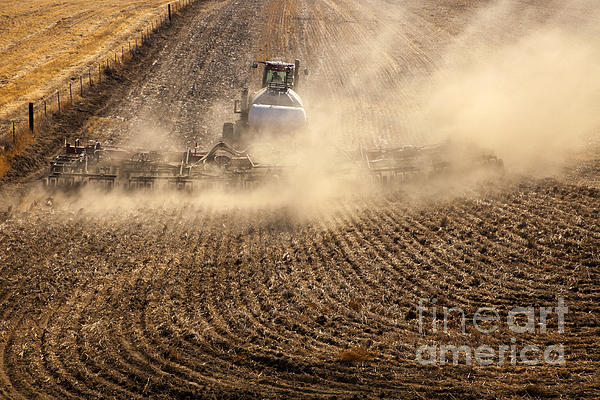 Plowing The Ground Print by Mike  Dawson