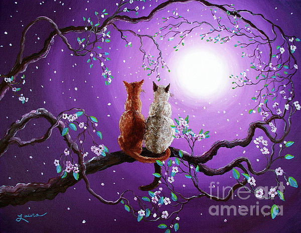 Plum Blossoms In Pale Moonlight Print by Laura Iverson