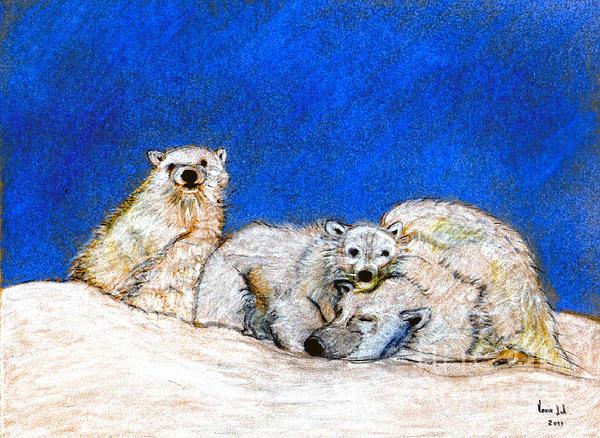 Polar Bears With Love Print by Marie Loh