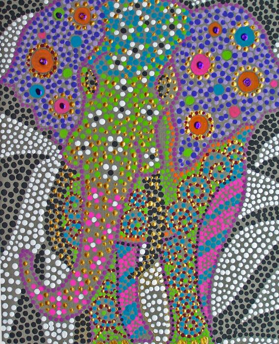 Polka Dot Ganesha Print by Vijay Sharon Govender