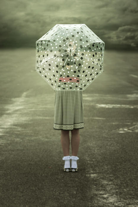 Polka Dotted Umbrella Print by Joana Kruse