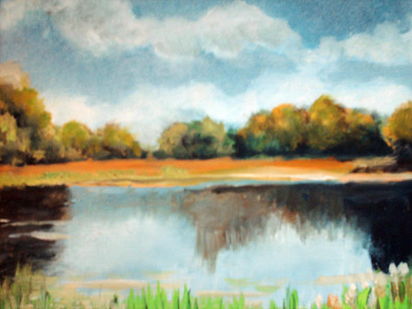 Pond and reeds print by robert harvey for Pond reeds for sale