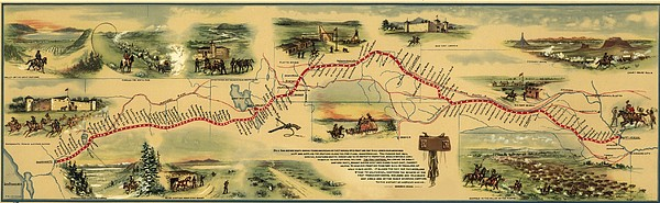 Pony Express Route April 1860 - October Print by Everett