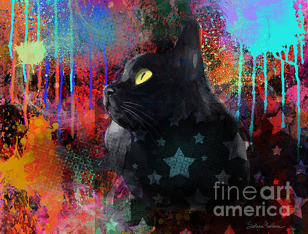 Pop Art Black Cat Painting Print Print by Svetlana Novikova