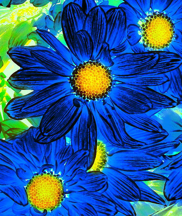 Pop Art Daisies 15 Print by Amy Vangsgard