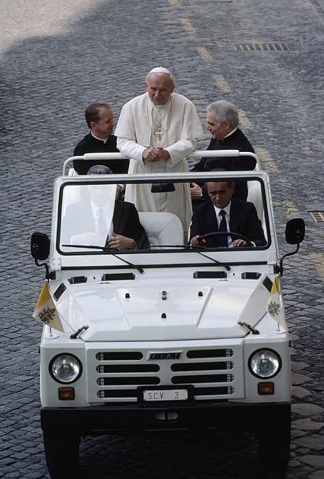 Pope John Paul II Rides In An Open-air Print by James L. Stanfield