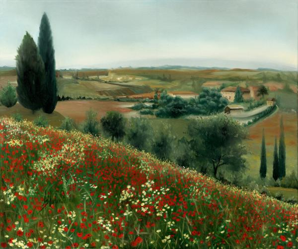 Poppies In Tuscany Painting  - Poppies In Tuscany Fine Art Print