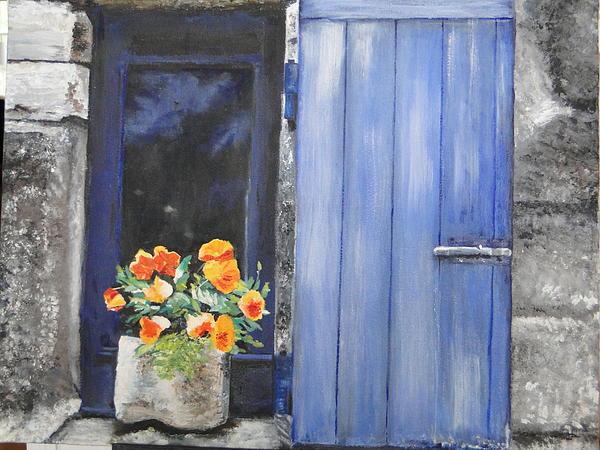 Poppies On The Windowsill Print by Cindy Plutnicki