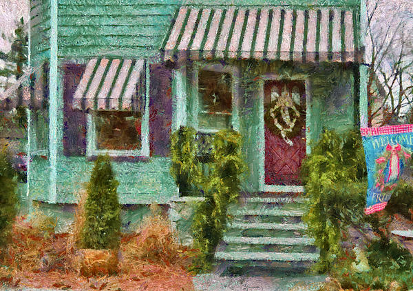 Porch - Westfield Nj - Welcome Friends Print by Mike Savad