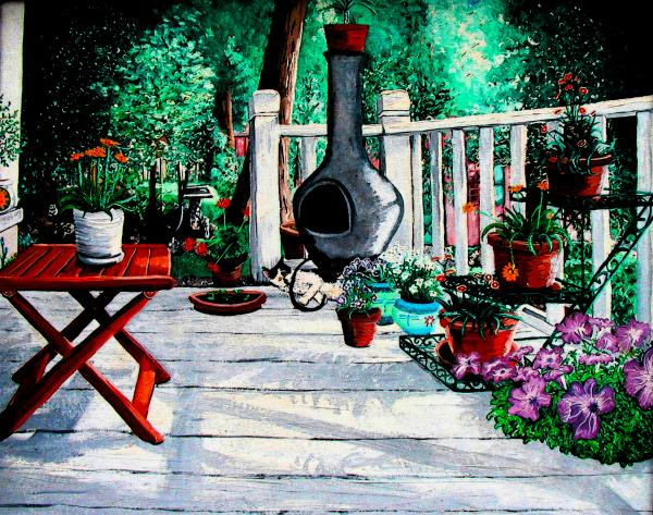 Porch Cat Sleeps Print by Laura Brightwood
