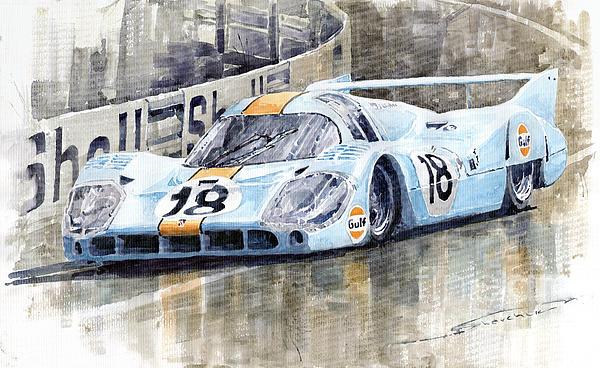 Porsche 917 Lh 24 Le Mans 1971 Rodriguez Oliver Print by Yuriy  Shevchuk
