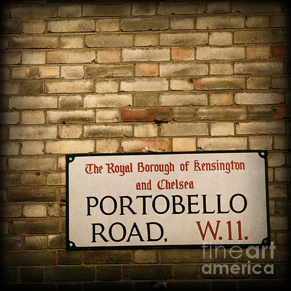 ELITE IMAGE photography By Chad McDermott - Portobello Road Sign on a Grunge Brick Wall in London England