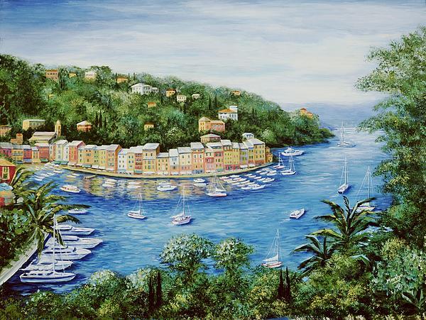 Portofino Majestic Panoramic View Print by Marilyn Dunlap