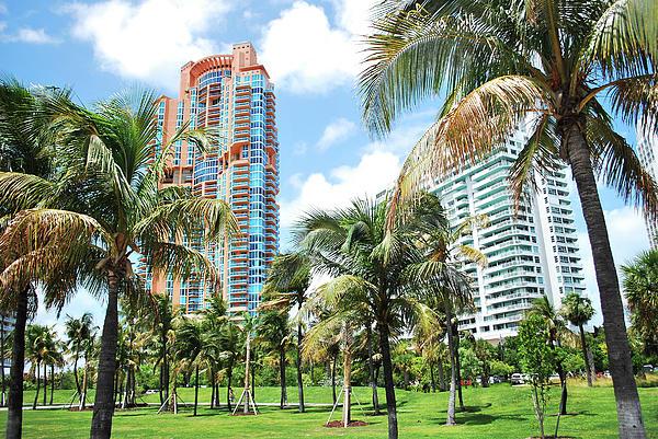 Portofino Towers 2 South Beach Miami Print by Amanda Vouglas