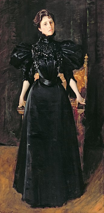 Portrait Of A Lady In Black Print by William Merritt Chase