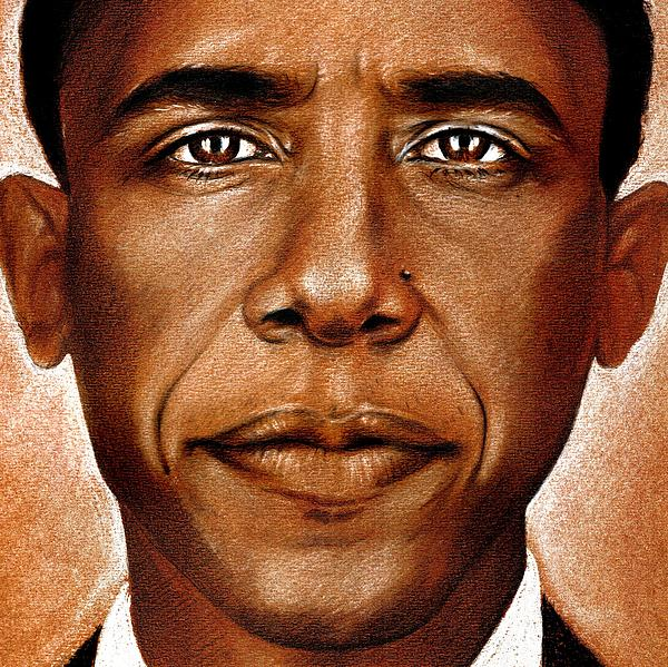 Portrait Of Barack Obama Print by Martin Velebil