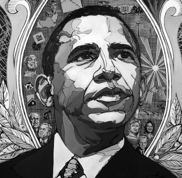 Portrait Of Barak Obama Print by John Gibbs
