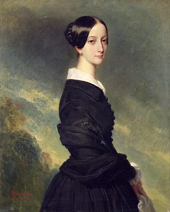 Portrait Of Francisca Caroline De Braganca Print by Franz Xaver Winterhalter
