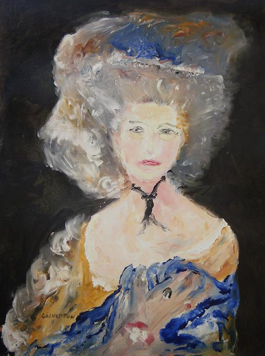 Portrait Of Woman In Blue Painting