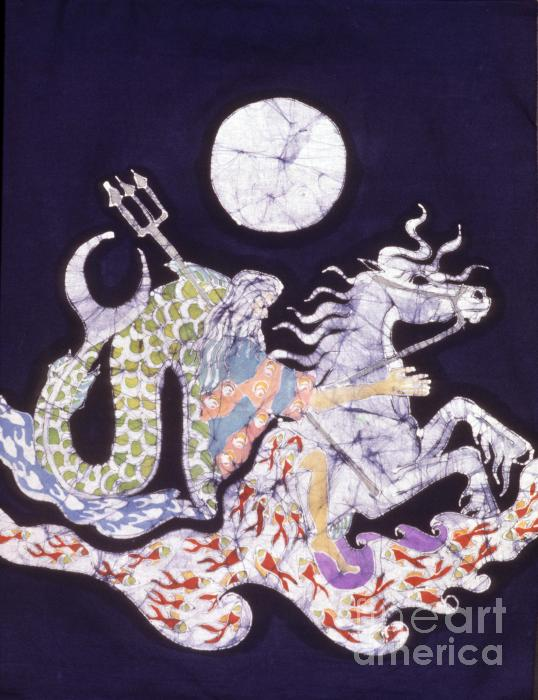 Poseidon Rides The Sea On A Moonlight Night Tapestry - Textile  - Poseidon Rides The Sea On A Moonlight Night Fine Art Print