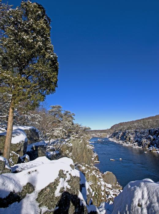 Potomac River At Great Falls National Park During Winter Print by Brendan Reals