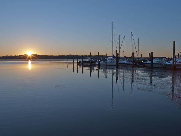 Potomac River Sunrise At Belle Haven Marina Virginia Print by Brendan Reals