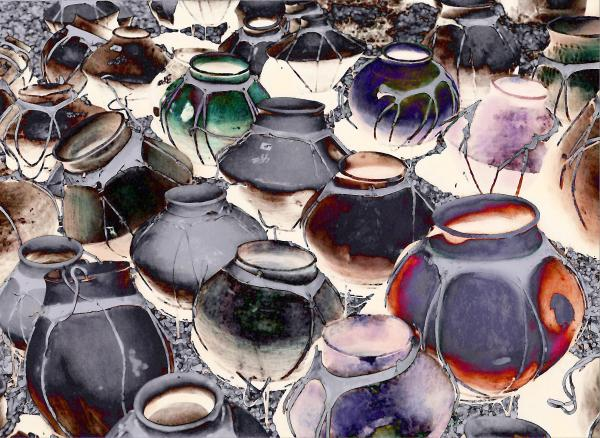 Pottery In Cluster Print by Linda  Parker