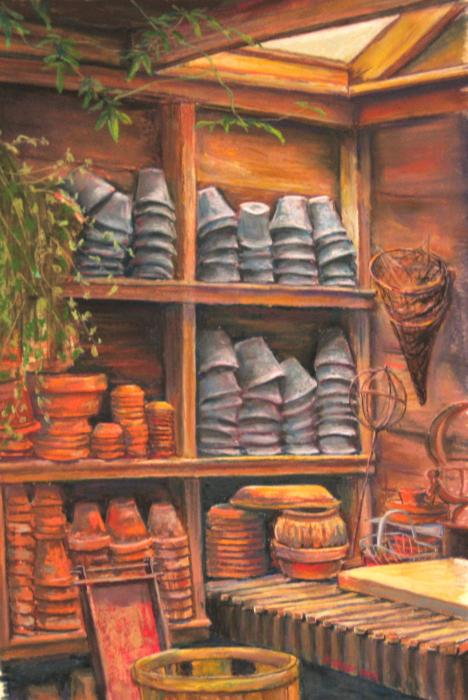 Potting Shed Pastel  - Potting Shed Fine Art Print