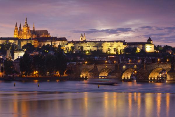 Prague Castle And Charles Bridge Print by Andre Goncalves