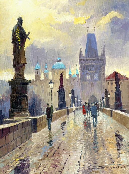 Prague Charles Bridge 02 Print by Yuriy  Shevchuk