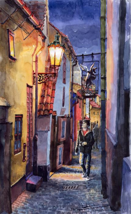 Prague Old Street Golden Line Print by Yuriy  Shevchuk