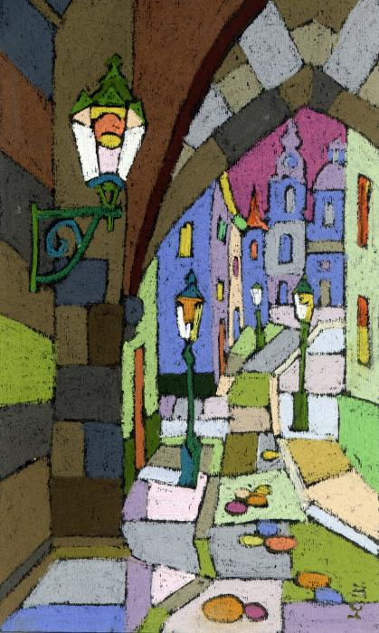 Prague Old Street Mostecka Print by Yuriy  Shevchuk
