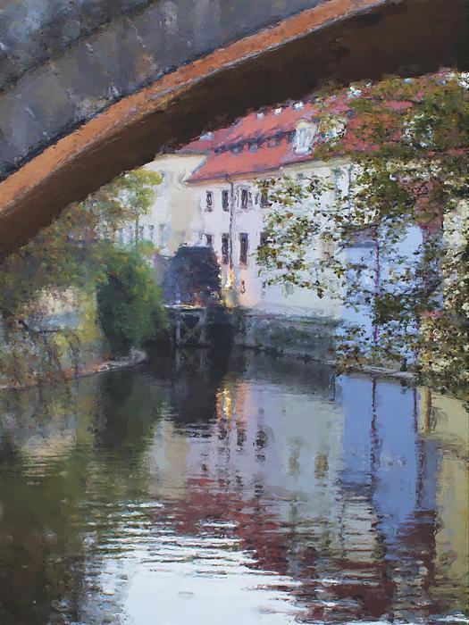 Praha Canal Dusk Print by Shawn Wallwork