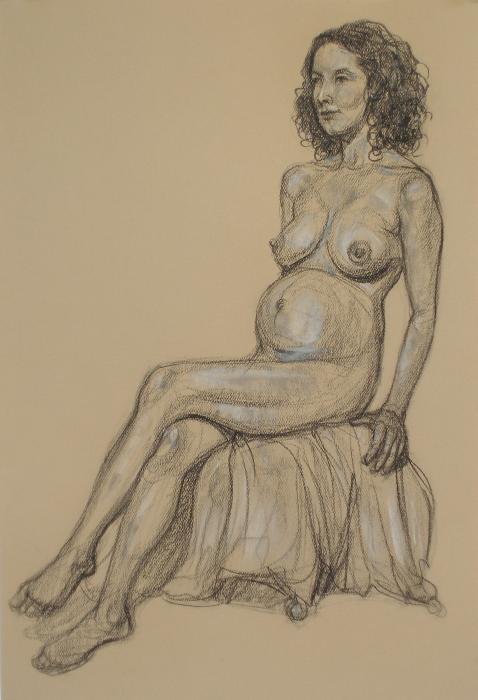 Pregnant Nude 1 Drawing - Pregnant Nude 1 Fine Art Print - Donelli DiMaria
