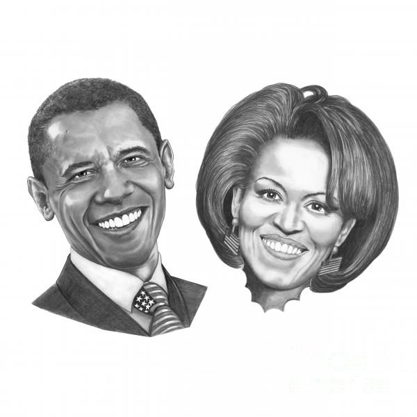 President And First Lady Obama Print by Murphy Elliott