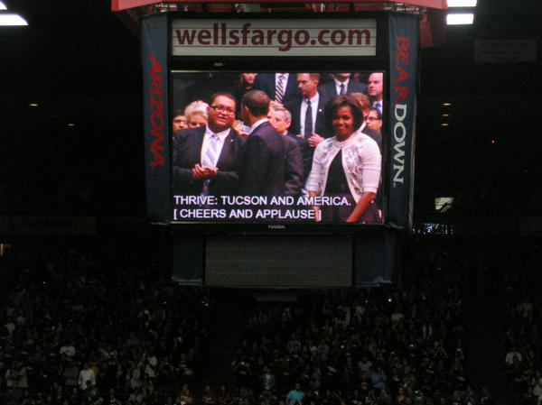President And Michelle Obama Tucson Print by Jayne Kerr