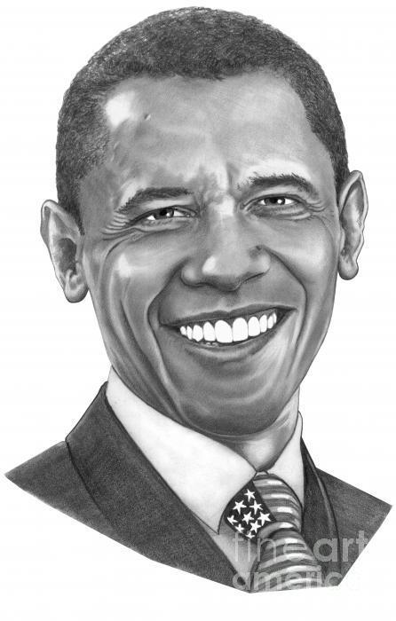 President Barack Obama By Murphy Art. Elliott Print by Murphy Elliott