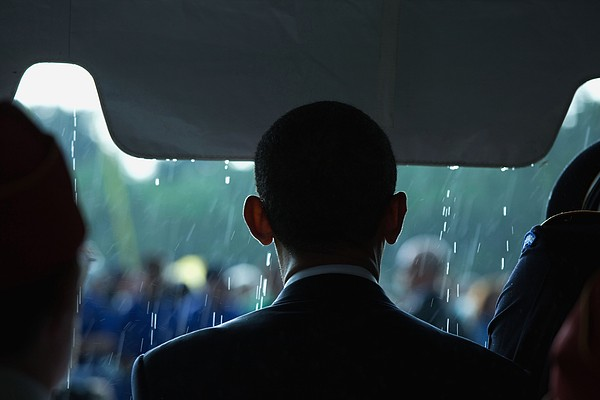President Barack Obama In The Rain Print by Everett