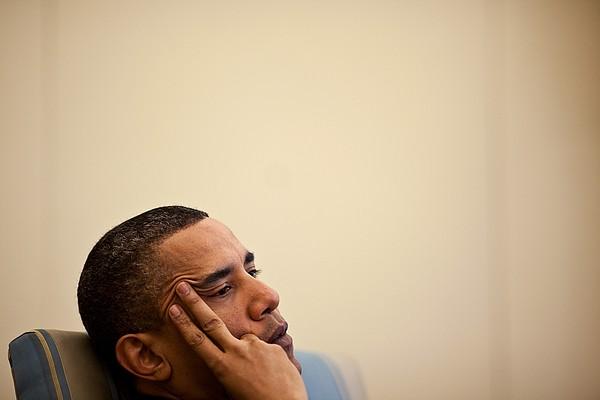 President Barack Obama Listening Print by Everett