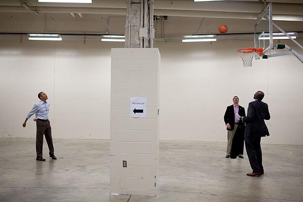 President Barack Obama Shoots Baskets Print by Everett