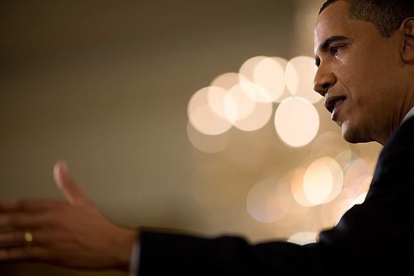 President Barack Obama Speaks Print by Everett