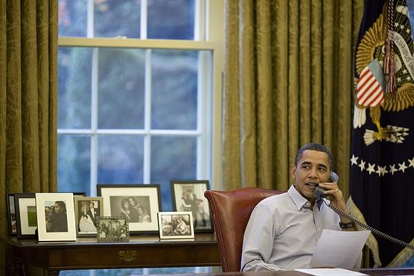 President Barack Obama Talks Print by Everett
