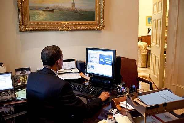 President Barack Obama Tests The New Print by Everett