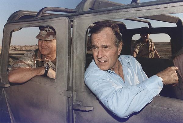 President George Bush Riding In An Print by Everett