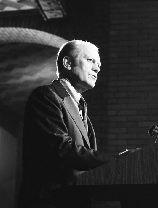 President Gerald Ford Speaking Print by Everett