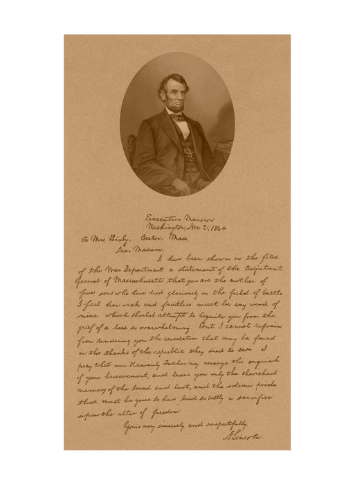 President Lincoln's Letter To Mrs. Bixby Print by War Is Hell Store