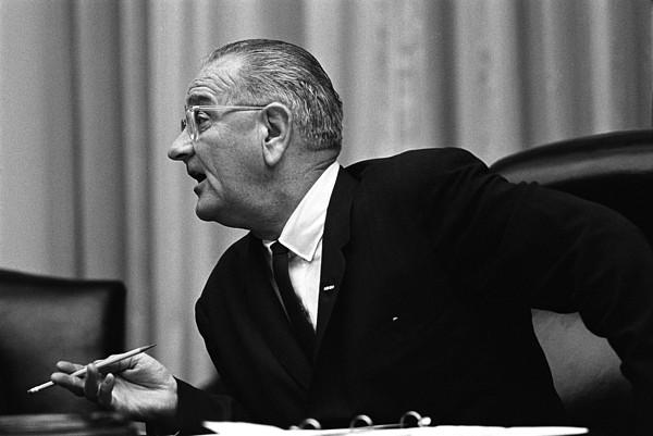 President Lyndon Johnson Speaking Print by Everett