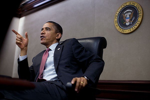 President Obama Speaks During A Meeting Print by Everett