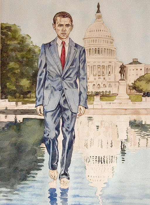 President Obama Walking On Water Painting  - President Obama Walking On Water Fine Art Print