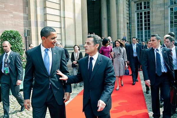 President Obama Walks With French Print by Everett